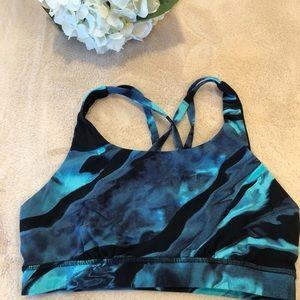 Lululemon Blue and Black Double Criss Cross Sports Bra Marble Pattern , Size 8